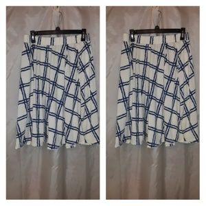 NWT Lularoe Madison Blue Cream Skirt Size L